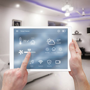 Smart Home automation being controlled by tablet
